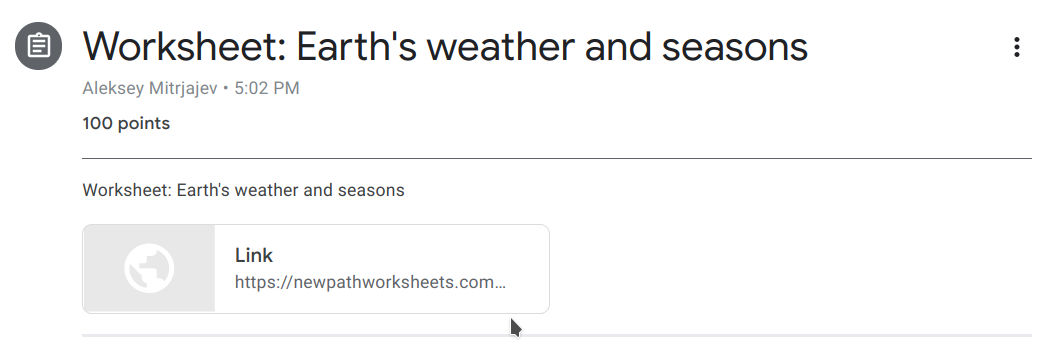 Assigned Worksheet: Earth`s weather and sessions