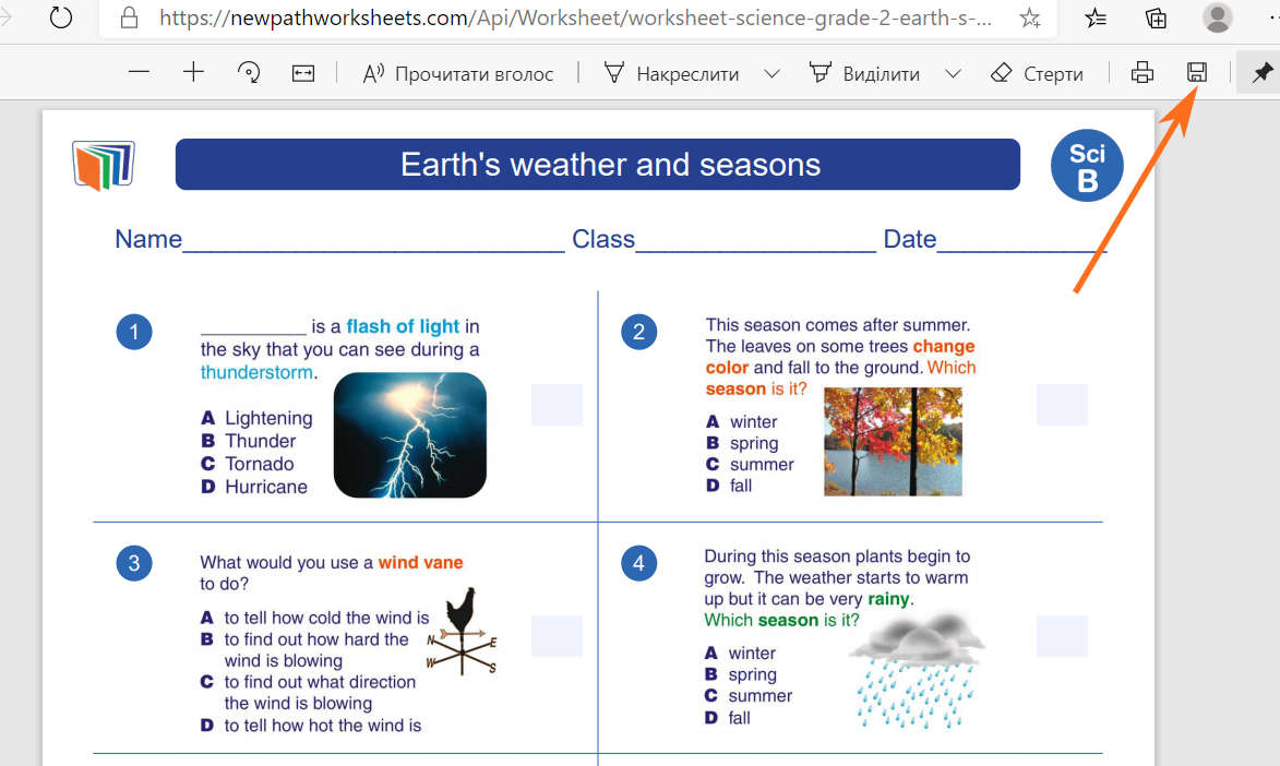 Save Worksheet: Earth`s weather and sessions