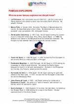 Social Studies - Third Grade - Study Guide: Famous Explorers