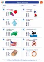 English Language Arts - Second Grade - Worksheet: Beginning Digraphs
