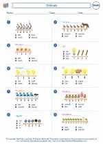 Mathematics - First Grade - Worksheet: Ordinals