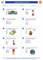 English Language Arts - Fourth Grade - Worksheet: Syllables/Spelling Patterns
