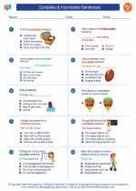 English Language Arts - Third Grade - Worksheet: Complete & Incomplete Sentences
