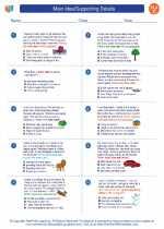 English Language Arts - Third Grade - Worksheet: Main Idea/Supporting Details