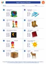English Language Arts - Second Grade - Worksheet: High Frequency Words I