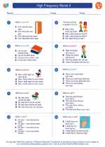 English Language Arts - Second Grade - Worksheet: High Frequency Words II