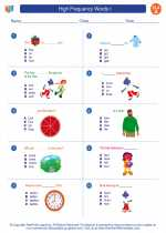 English Language Arts - First Grade - Worksheet: High Frequency Words I