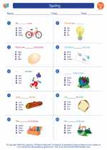 English Language Arts - First Grade - Worksheet: Spelling