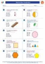 English Language Arts - Second Grade - Worksheet: Mathematics Vocabulary