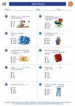 English Language Arts - Second Grade - Worksheet: Sight Words I