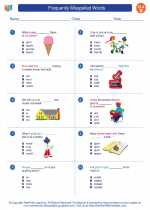 English Language Arts - Second Grade - Worksheet: Frequently Misspelled Words