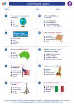 Social Studies - Third Grade - Worksheet: Continents and Oceans