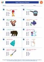 English Language Arts - Third Grade - Worksheet: High Frequency Words I