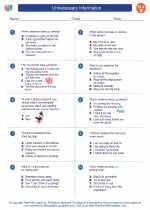 English Language Arts - Second Grade - Worksheet: Unnecessary Information