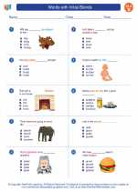 English Language Arts - Second Grade - Worksheet: Words with Initial Blends