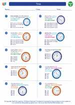 Mathematics - Fourth Grade - Worksheet: Time