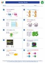 Mathematics - Second Grade - Worksheet: Number Words