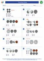 Mathematics - First Grade - Worksheet: Counting Coins