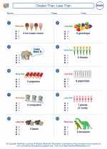 Mathematics - First Grade - Worksheet: Greater Than, Less Than