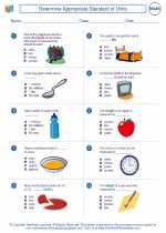 Mathematics - Third Grade - Worksheet: Determine Appropriate Standard of Units