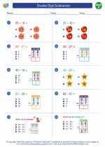 Mathematics - Third Grade - Worksheet: Double Digit Subtraction