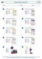 Mathematics - Third Grade - Worksheet: Double Digit Subtraction