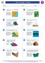Social Studies - Fifth Grade - Worksheet: New York Map - Physical