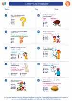 English Language Arts - Fourth Grade - Worksheet: Content Area Vocabulary