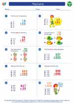 Mathematics - Third Grade - Worksheet: Regrouping