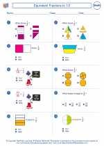 Mathematics - Third Grade - Worksheet: Equivalent Fractions to 1/2