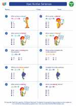Mathematics - Third Grade - Worksheet: Open Number Sentences
