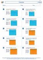 Mathematics - Fourth Grade - Worksheet: Calendar