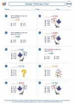 Mathematics - Third Grade - Worksheet: Greater Than/Less Than