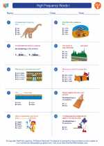 English Language Arts - Fifth Grade - Worksheet: High Frequency Words I