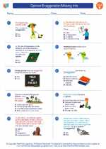 English Language Arts - Fifth Grade - Worksheet: Opinion/Exaggeration/Missing Info.