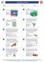 English Language Arts - Fourth Grade - Worksheet: Elements of Fiction