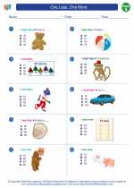 Mathematics - First Grade - Worksheet: One Less, One More