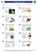 Science - Third Grade - Worksheet: Animals and their needs