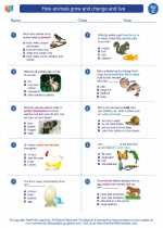 Science - Third Grade - Worksheet: How animals grow and change and live