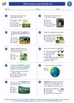 Science - Third Grade - Worksheet: Where plants and animals live