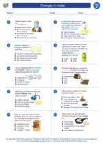 Science - Third Grade - Worksheet: Changes in matter