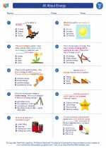 Science - Third Grade - Worksheet: Energy