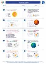 Science - Third Grade - Worksheet: The solar system