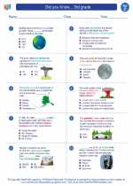 Science - Third Grade - Worksheet: Did you Know... 3rd grade