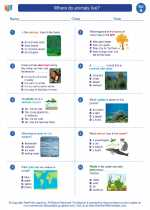 Science - First Grade - Worksheet: Where do animals live?