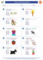English Language Arts - Second Grade - Worksheet: Words with Ending Blends