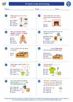 Science - First Grade - Worksheet: All about heat and energy