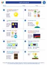 Science - First Grade - Worksheet: Light and sound