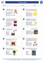 Science - Second Grade - Worksheet: Energy needs