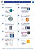Science - Second Grade - Worksheet: Moon, star and planets